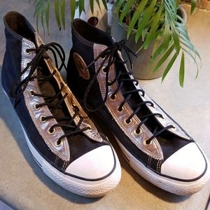 REALLY COOL CONVERSE~ BLK.W/GOLD LEATHER TRIM